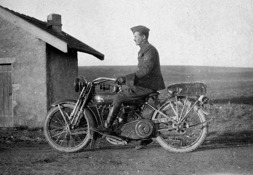 Soldier on a motorcycle, WWI