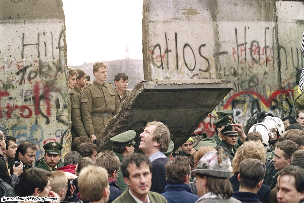 The Berlin Wall coming down