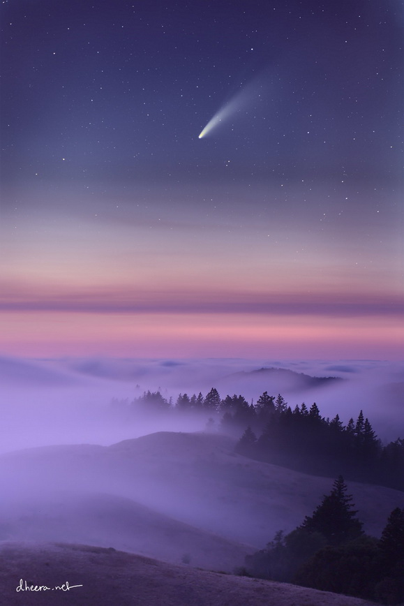Comet Neowie over foggy northern California, July 2020