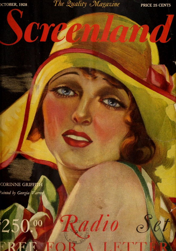 Silent film star Corinne Griffith on the cover of Screenland, 1928