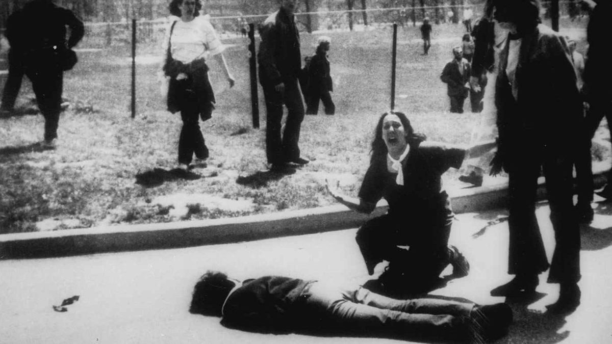 Anti-Vietnam War protester shot dead by US National Guard, Kent State, Ohio,1970s