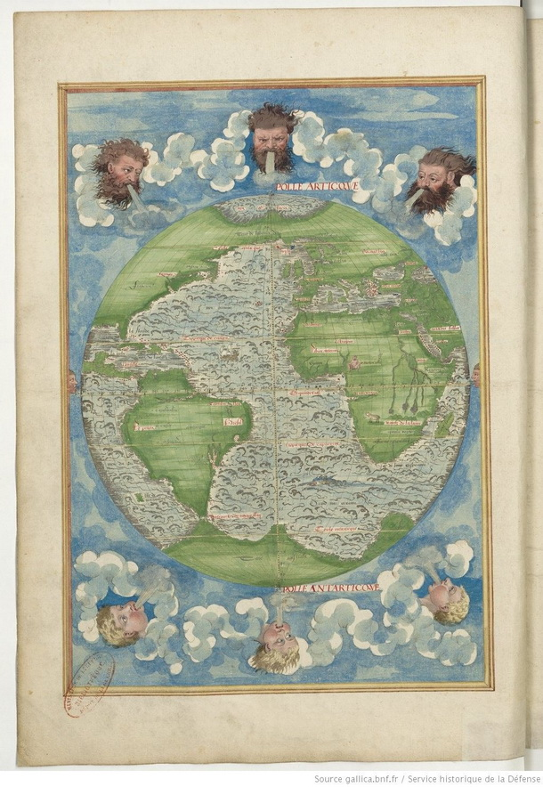 Map made by Guillaume Le Testu in 1555