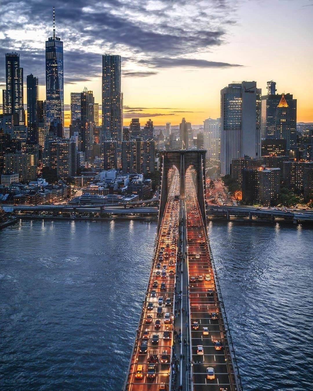 Brooklyn Bridge leading into Lower Manhattan,NYC