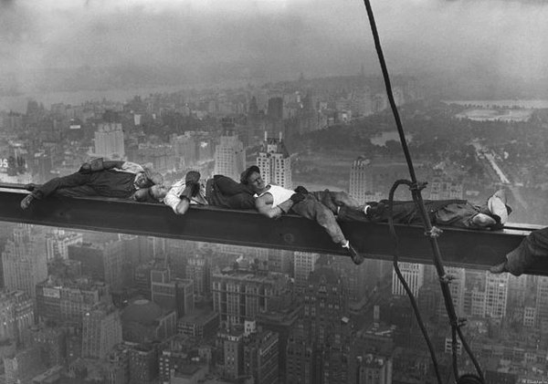 Workers taking a break during the construction of the RCA Building, NYC,1930s