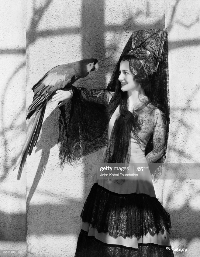 Olivia DeHaviland wearing a mantilla and with a parrot