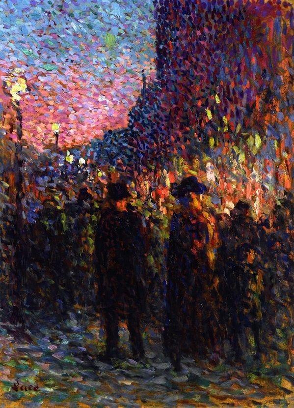 """Boulevard at Night, Paris"" by Maximilien Luce,1893"