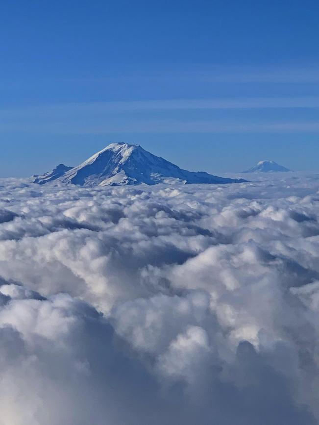 Mount Rainier & Mount Adams above the clouds,Washington