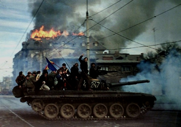 Streets of Bucharest, Romania, during the battle to topple the communist dictator,1989
