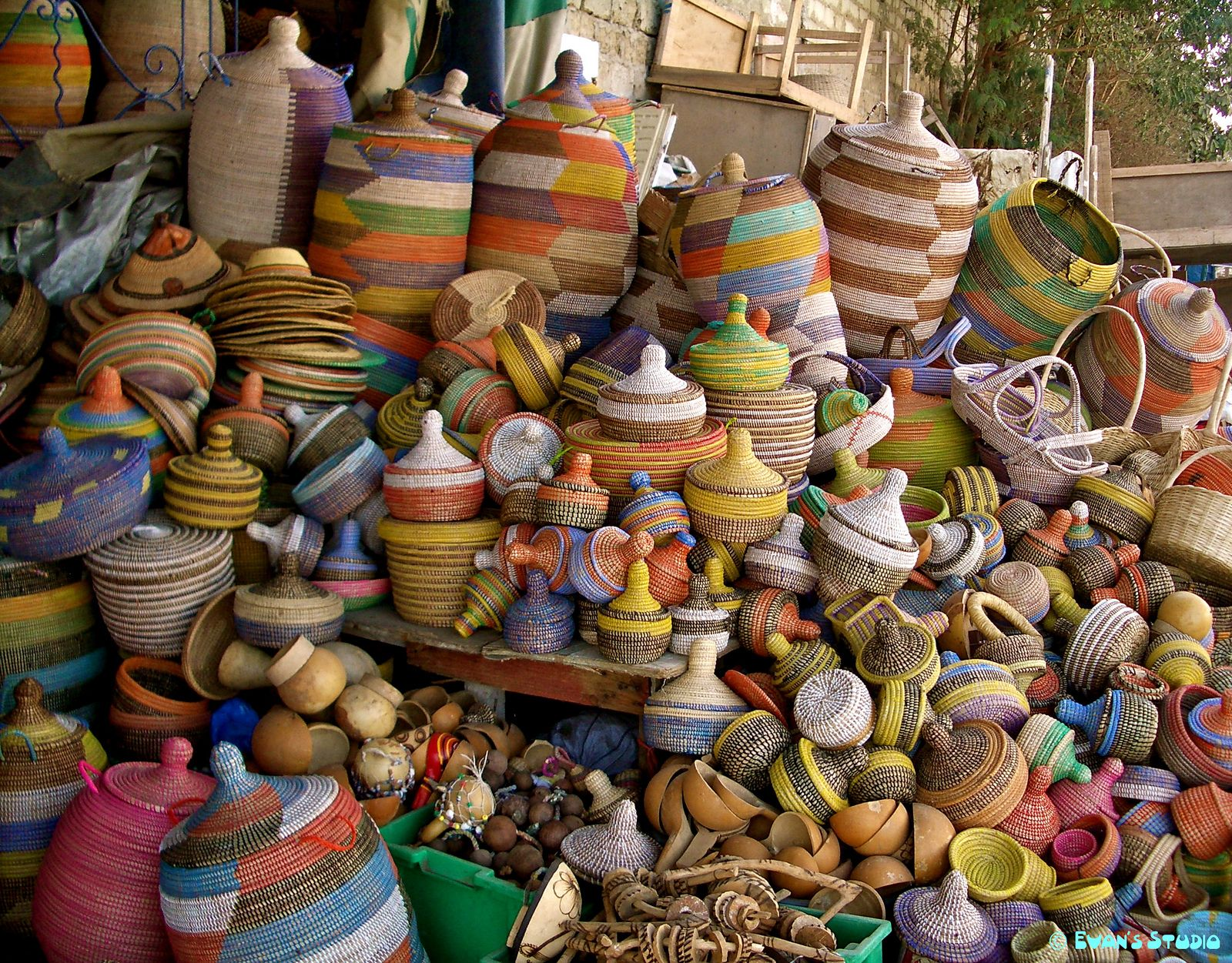 Baskets in a marketplace in Dakar, Senegal