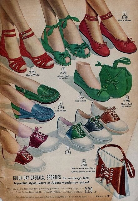 """Gay casuals"" – baby dolls and saddle shoes, circa 1940"