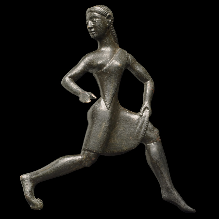 Ancient statue of a woman on thego