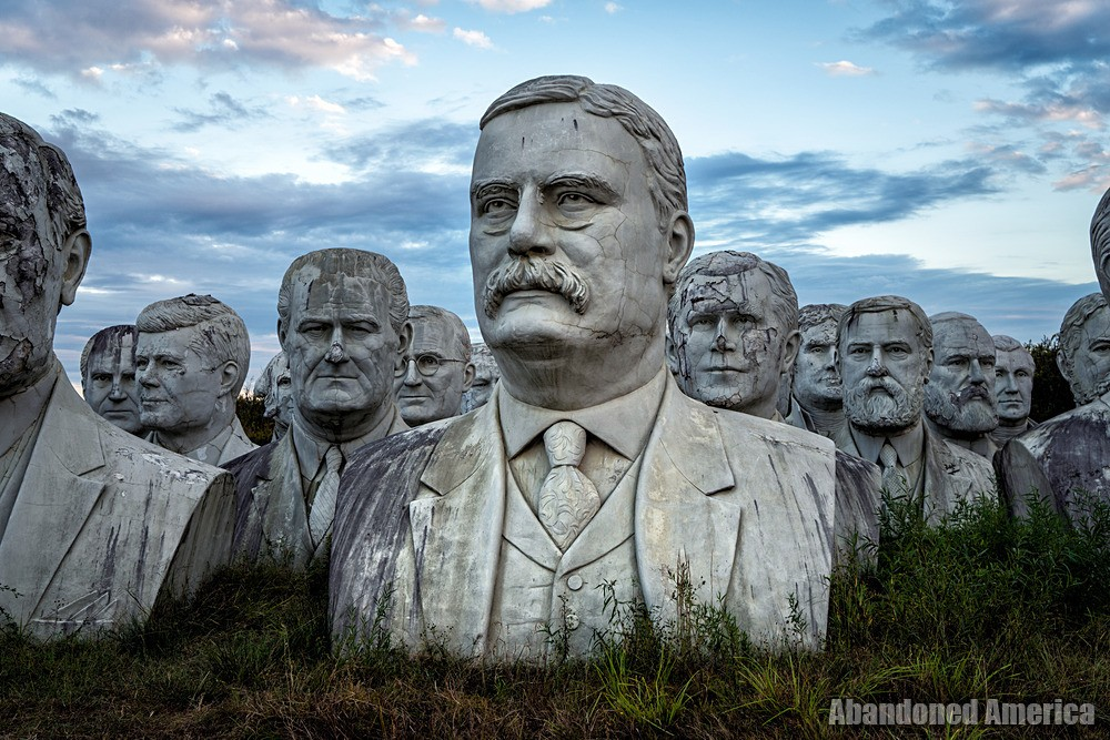 Statues of American presidents abandoned in a field inVirginia