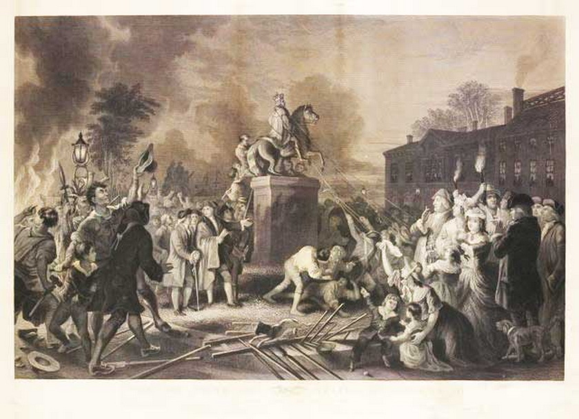 Tearing down a statute of King George III in NYC during the American Revolution, 1770s