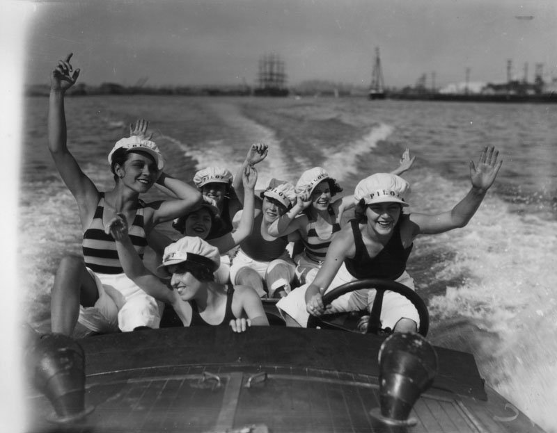 Actresses out for a boat ride, San Diego,1920s