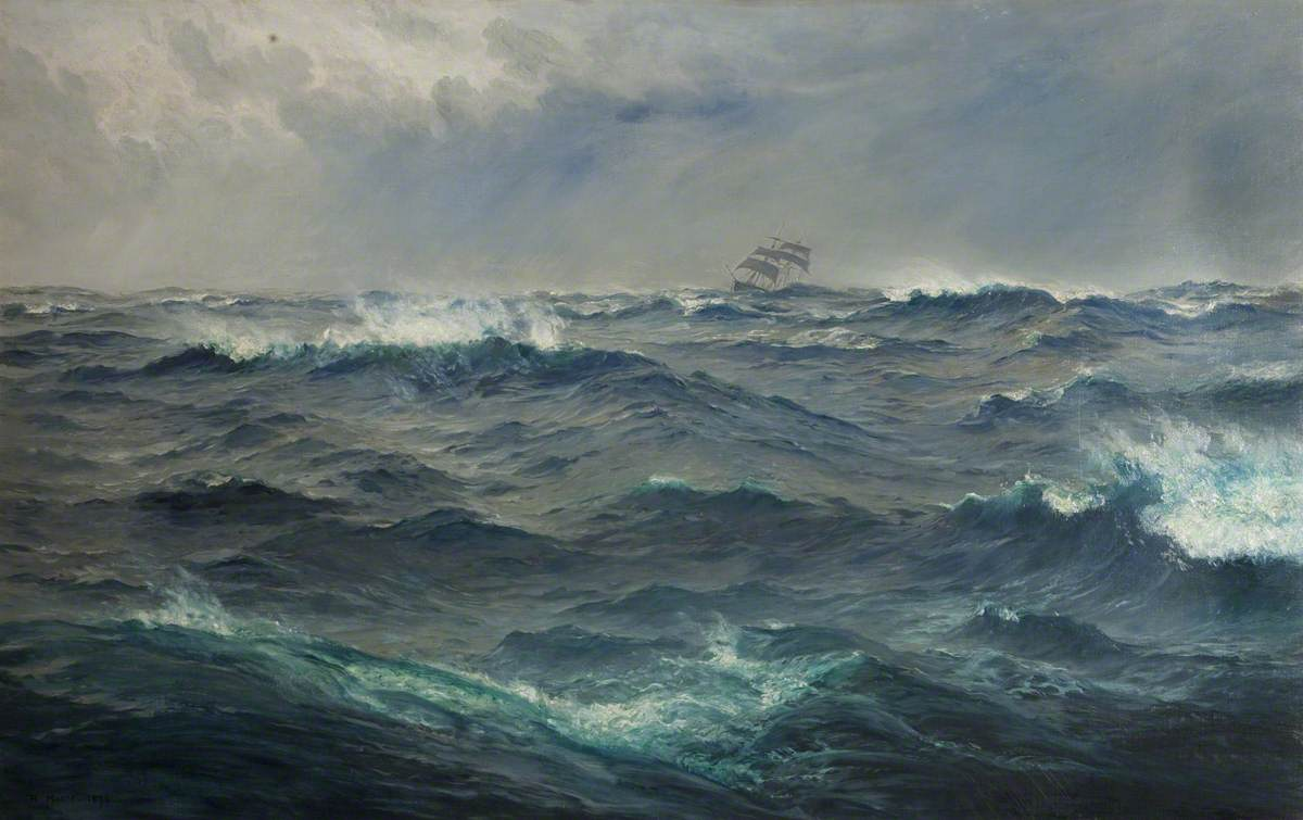 """Rough Weather in the Mediterranean"" by Henry Moore, 1874"