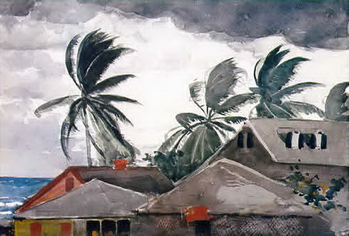 Winslow Homer, watercolour of a hurricane hitting the Bahamas