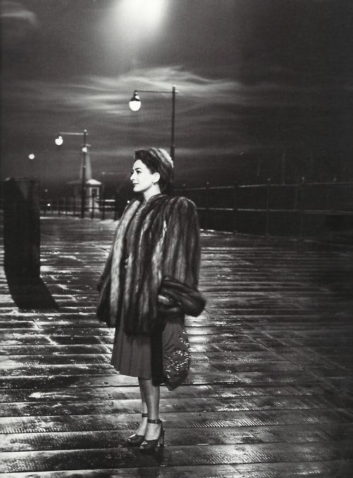 "Joan Crawford during a break in filming ""Mildred Pierce"",1945"