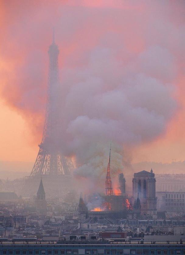 Notre Dame on fire, Paris,2019