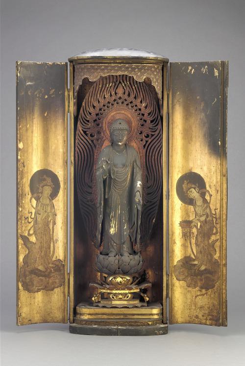 Amitabha (Amida), contained within a closed shrine,Japan