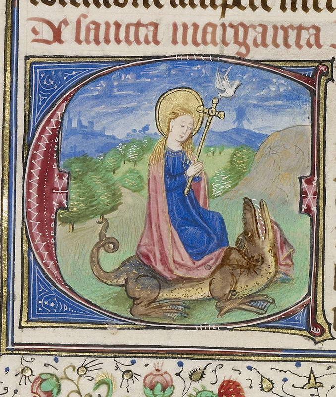 Saint Margaret of Antioch miraculously popping out of a dragon's bellyalive