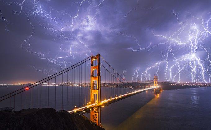San Francisco during a rare lightning stormrecently