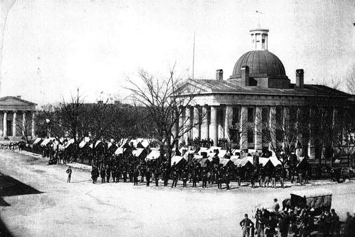 Union (Northern) troops in control of Montgomery, Alabama, at the end of the US Civil War,1860s