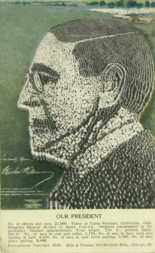 21,000 soldiers arranged as a portrait of President Woodrow Wilson, 1918