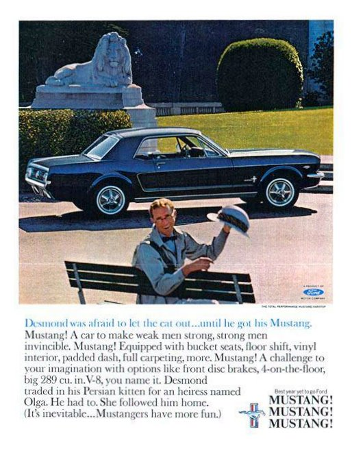 "The 1965 Mustang – "" A car to make weak men strong and strong men invincible"""