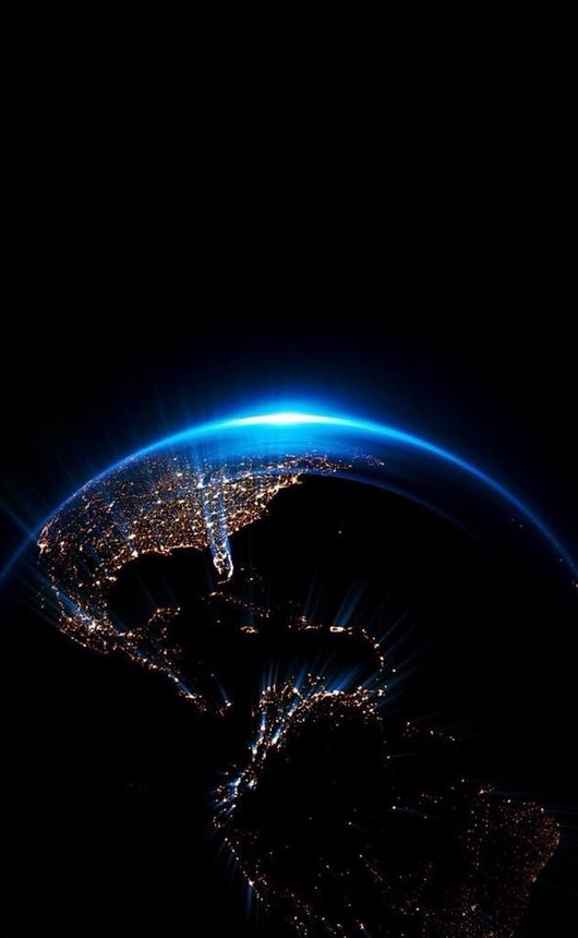 The Americas at night from space
