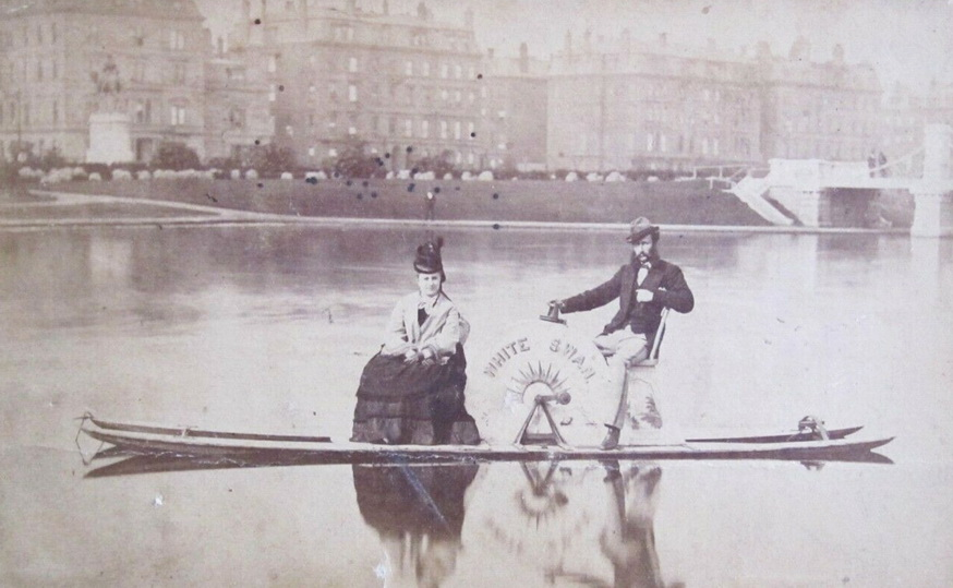 The first swan boat in the Boston Public Garden, 1800s