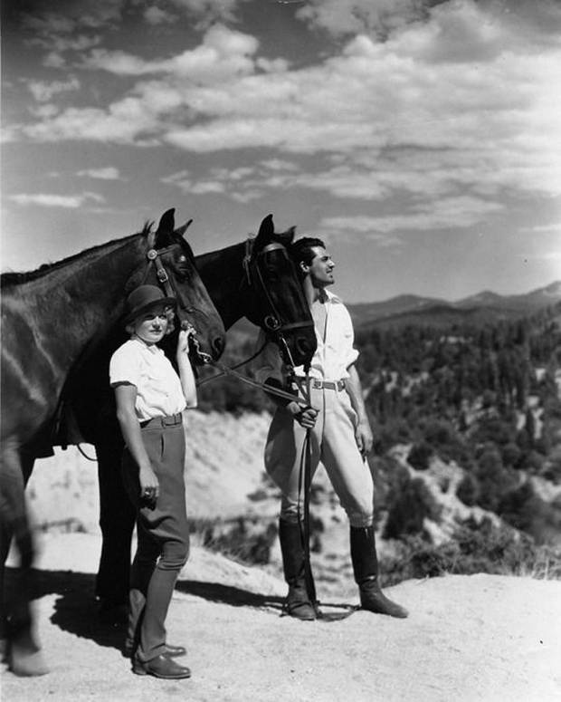 Cary Grant and Virginia Cherrill horseback riding at Hearst Castle, California, 1934