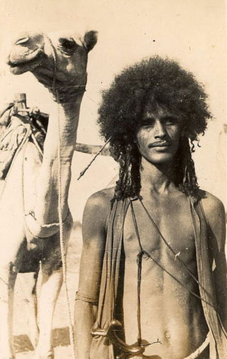 Hedereb man with a camel, Eritrea