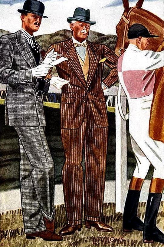 Tycoon fashions for the racetrack, illustration by L. Fellows for Esquire magazine, 1930s