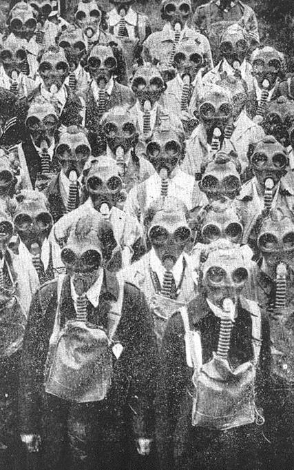 Crowd wearing gasmasks