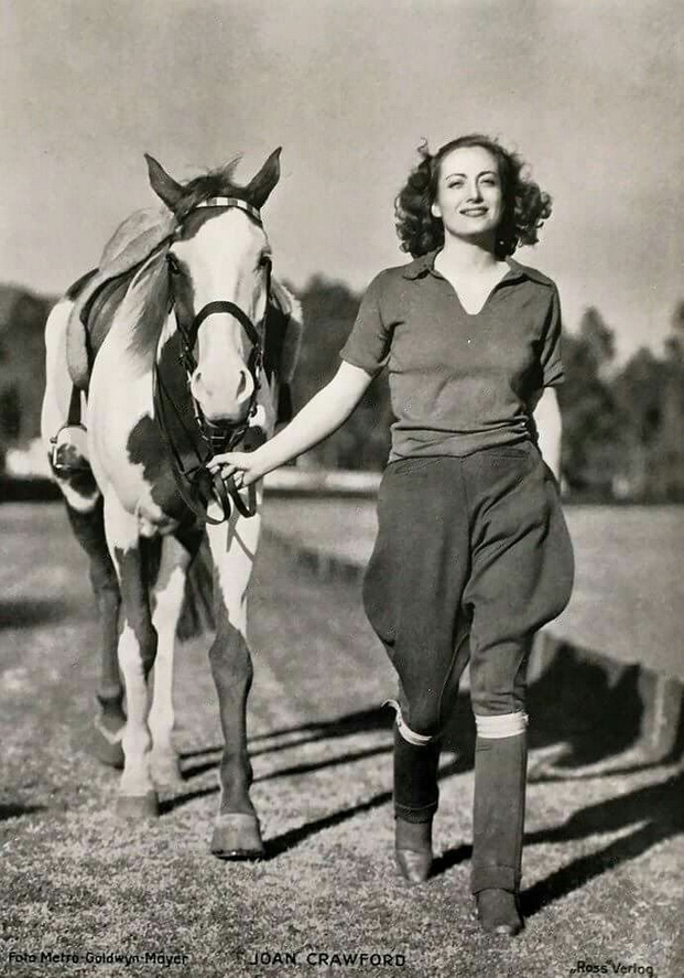 Joan Crawford and a horse, 1930s