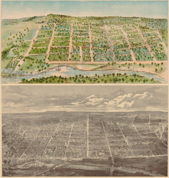Melbourne (Australia) 33 years apart in 1838 and in 1871.