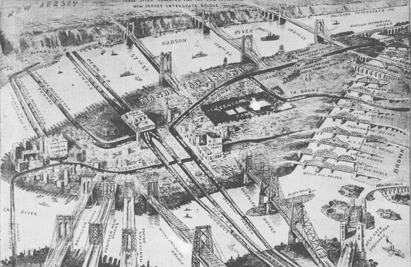 Old map of NYC showing the bridges and tunnels to Manhattan