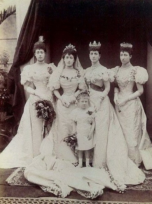 Princess Maud of UK (with Queen Alexandra to her right) on her wedding day to Prince Carl of Denmark – who then later became Queen Maud and King Haakon VII of Norway, 1896