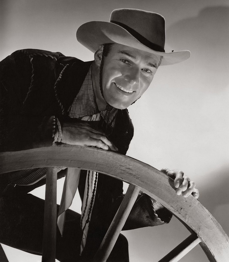 Randolph Scott in a promo shot for one of the many westerns he starred in, 1940s