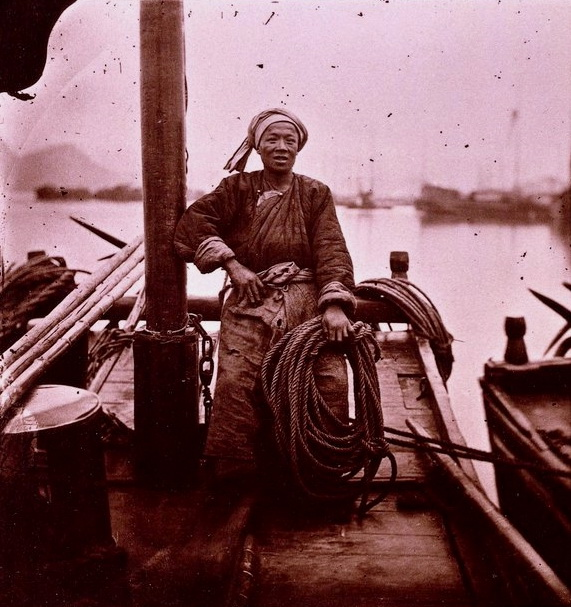 Chinese man on a boat, 1800s