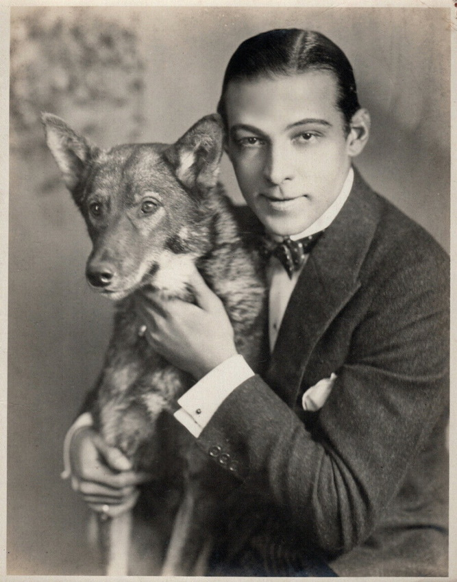 Rudy Valentino and his dog, 1920s