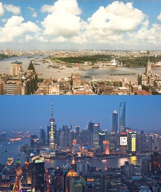 Shanghai, China in 1990 and 2012