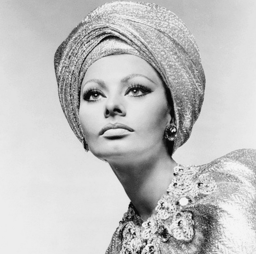 Sophia Loren wearing a sparkling turban,1960s