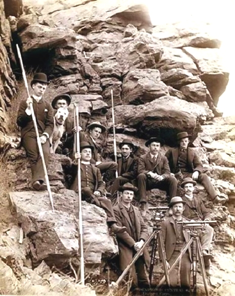 Surveyors for a railway line in the old West, 1800s