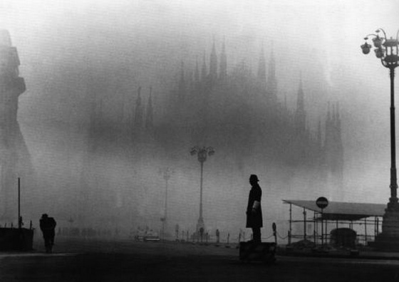 The Milan Cathedral shrouded in fog, 1960s