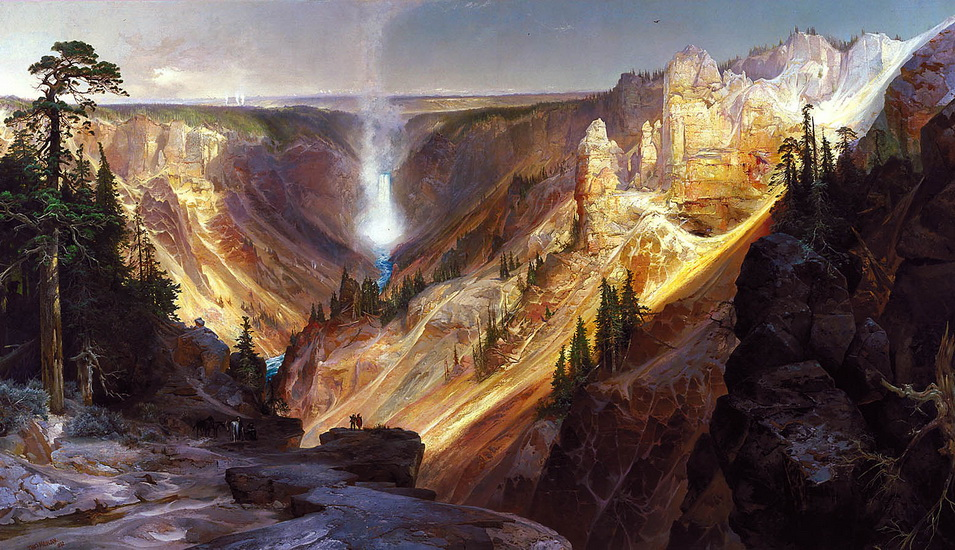 The waterfall in Yellowstone (Wyoming) by Thomas Moran, 1870s
