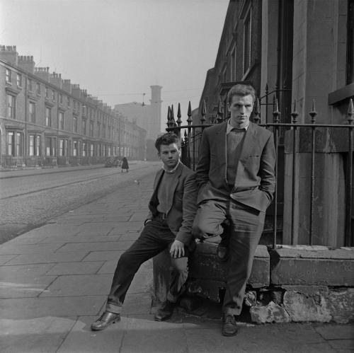 Unemployed teenagers on a street corner, Liverpool,  photo by Bert Hardy, 1957