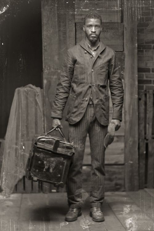 Vintage salesman in his travelingoutfit
