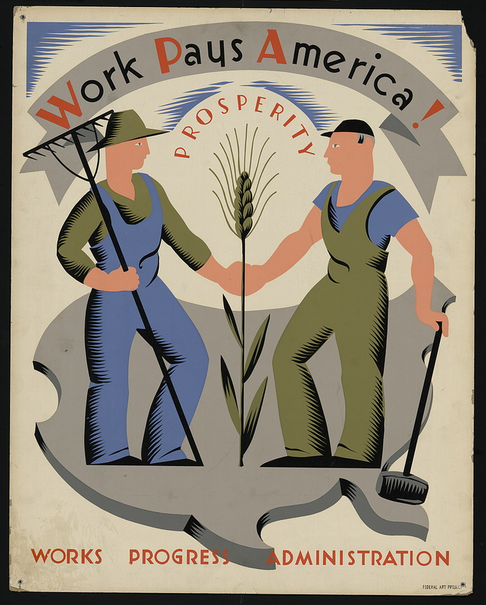 Work Progress Administration poster from the First Great Depression, US,1930s