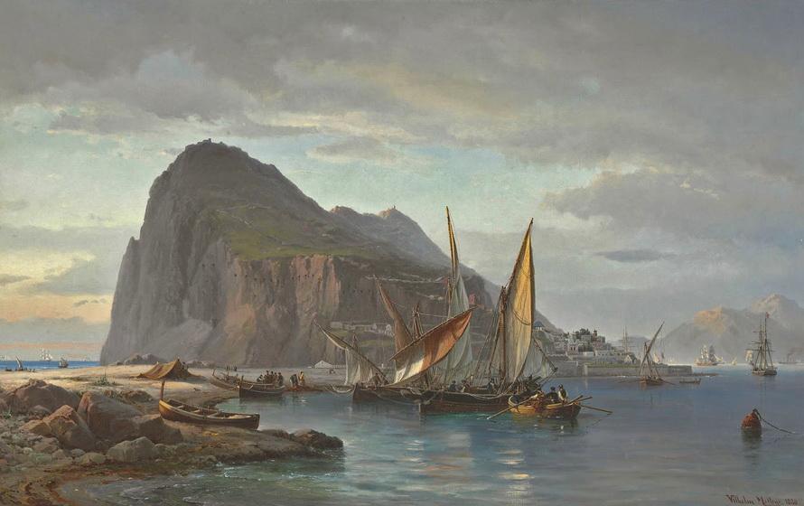 """Vilhelm Melbye, """"Shipping off Gibraltar"""", 1830"""
